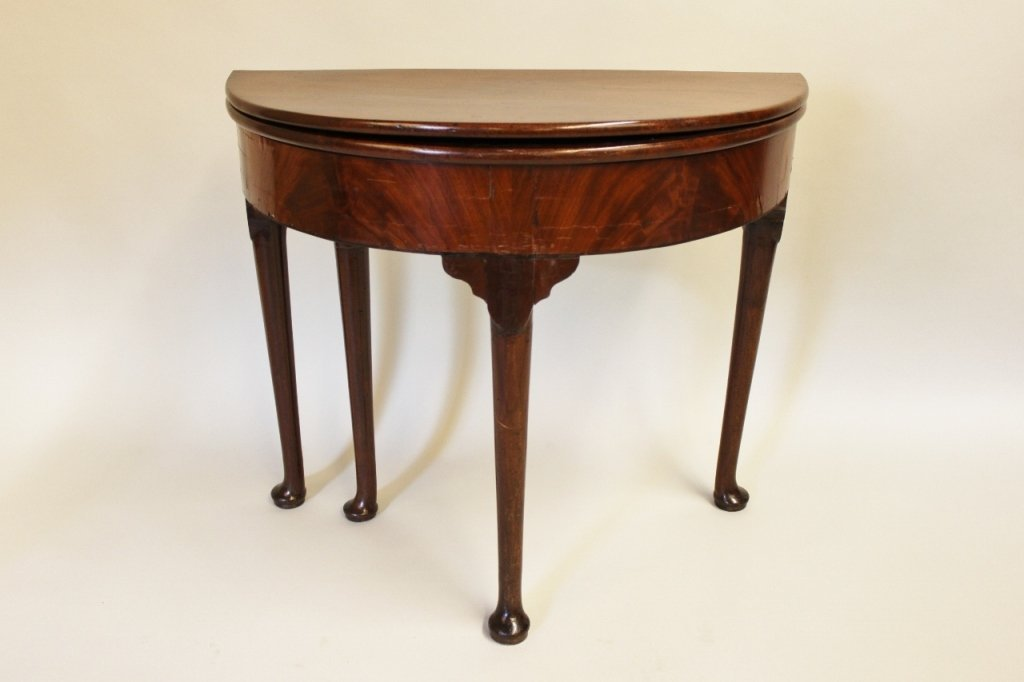 19th C. English Mahogany Demilune Game Table