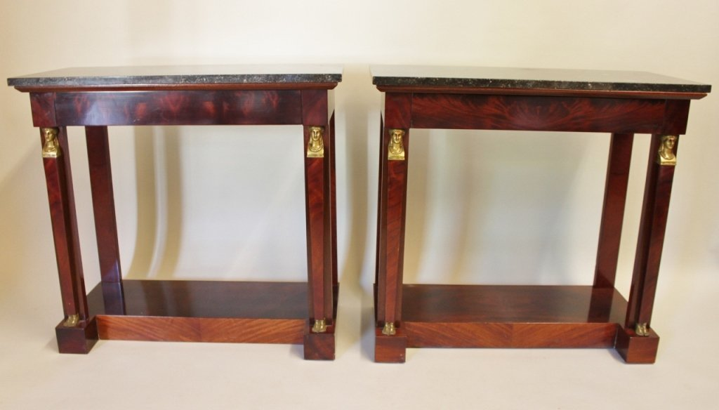 Pair of Mid-20th C. Marble Top Mahogany Consoles