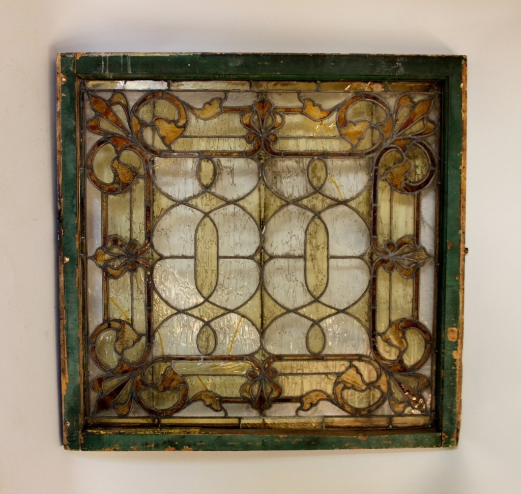 Late 19th C. Leaded & Stained Glass Window