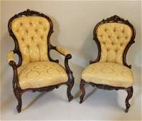 Pair of 19th C. Walnut Framed Chairs