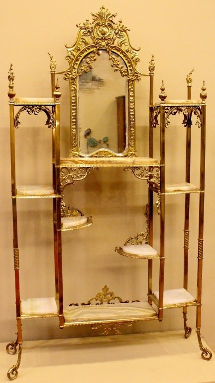 Late 19th C. Victorian Onyx and Brass Etagere