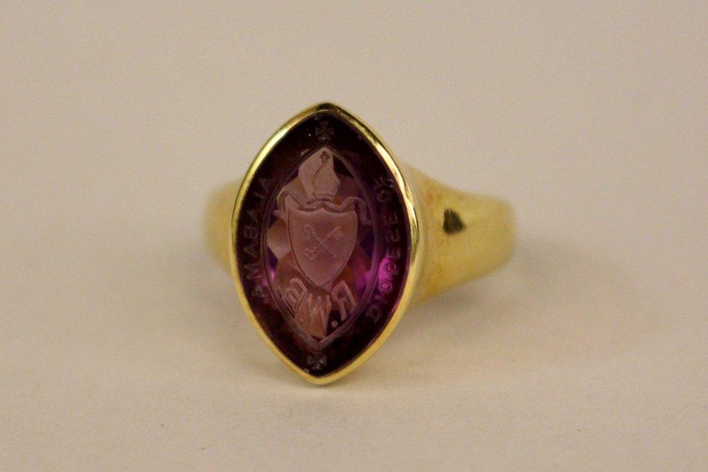 18k Intaglio Cut Dioces of Alabama Ring