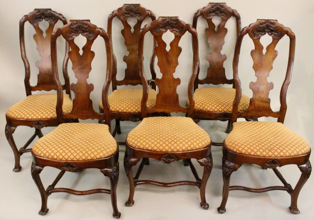 Set of Six Italian Queen Anne Chairs