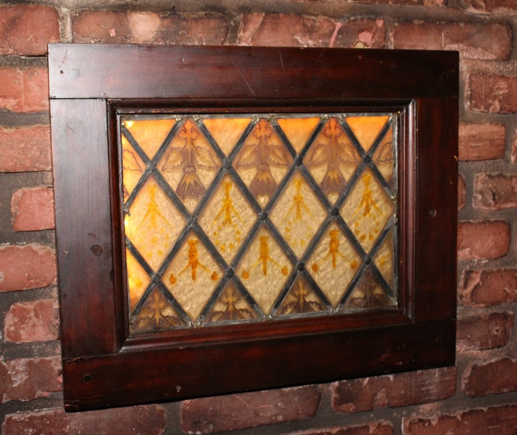 Small Painted and Stained Glass Window.