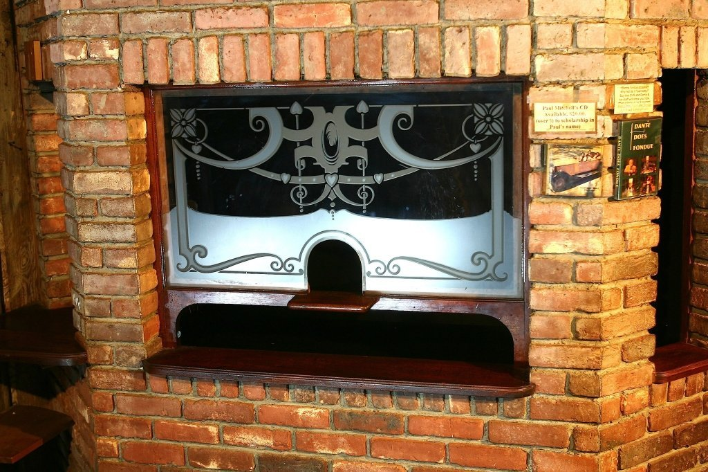 English Etched Glass Ticket Window
