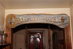 The Bait Shack Carved and Painted Wood Sign