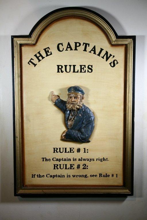 """The Captain's Rules"" Sign - 2"