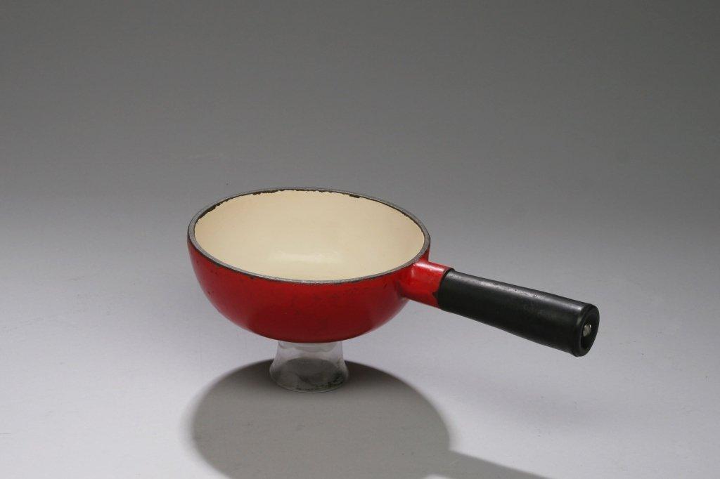 """Dante's"" Small Red Enameled Fondue Pot"