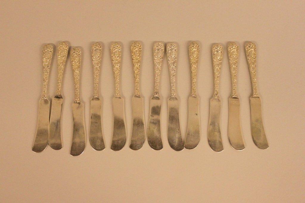 Set of Twelve Kirk & Sons Sterling Butter Knives