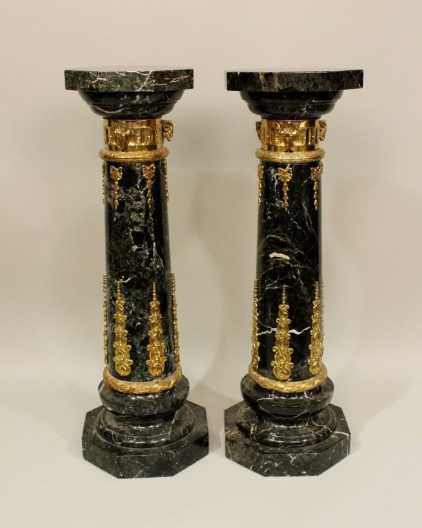 Pair of Black Marble Pedestals w/ Brass Banding.