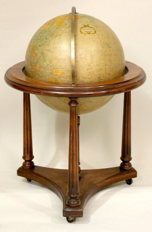 A Globe with Cherry Wood Stand.