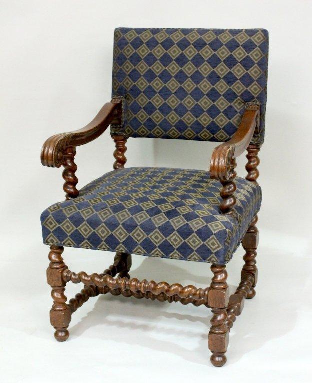 19th C. Oak Barley Twist Armchair.