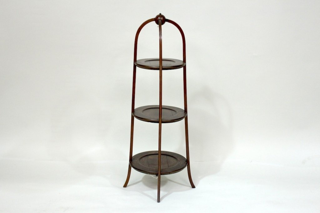19th C. Inlaid Three Tiered Plate Stand.