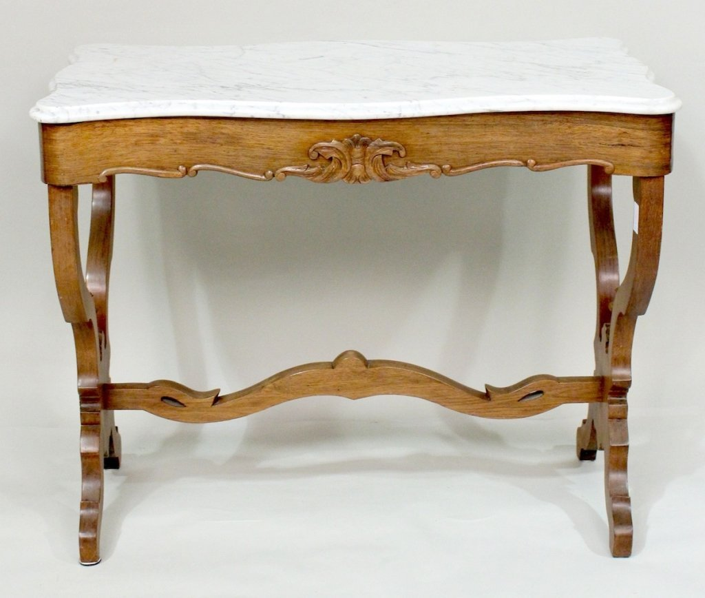 Victorian Marble Top Parlor Table.