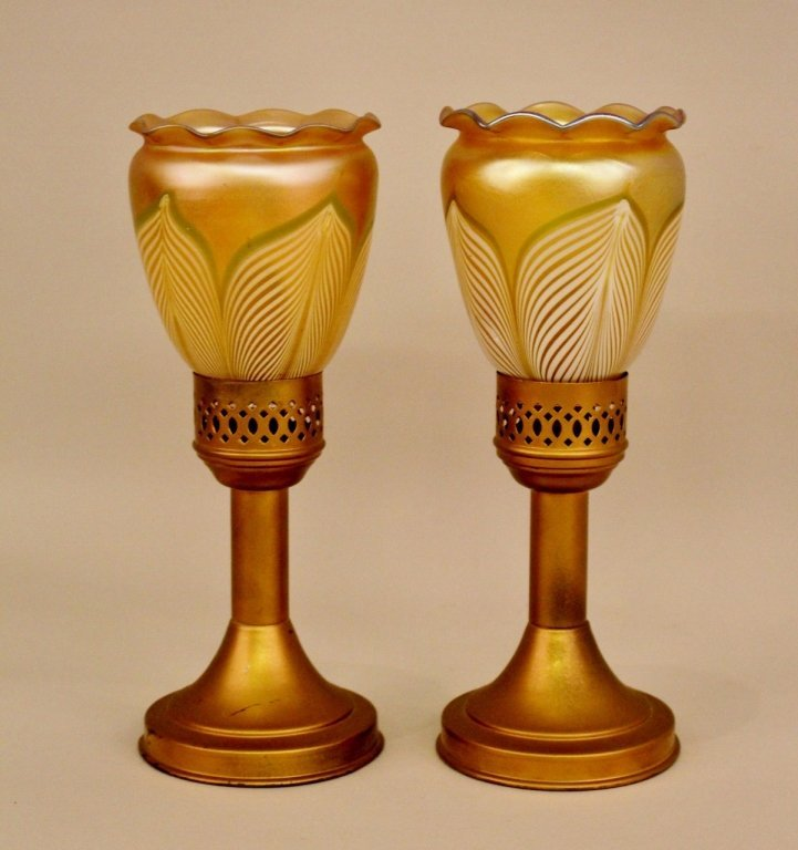 Pair of  Lamps with Steuben Style Shades.