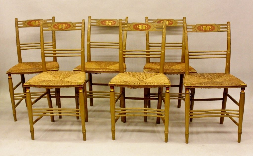 Set of Six American Hand Painted Side Chairs.
