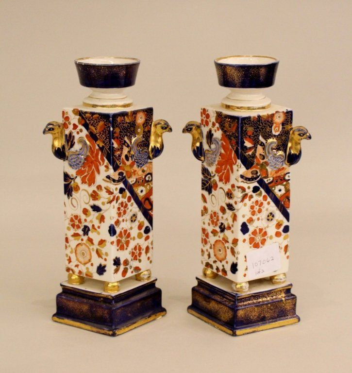 Pair of Old Derby English Porcelain Floral Vases