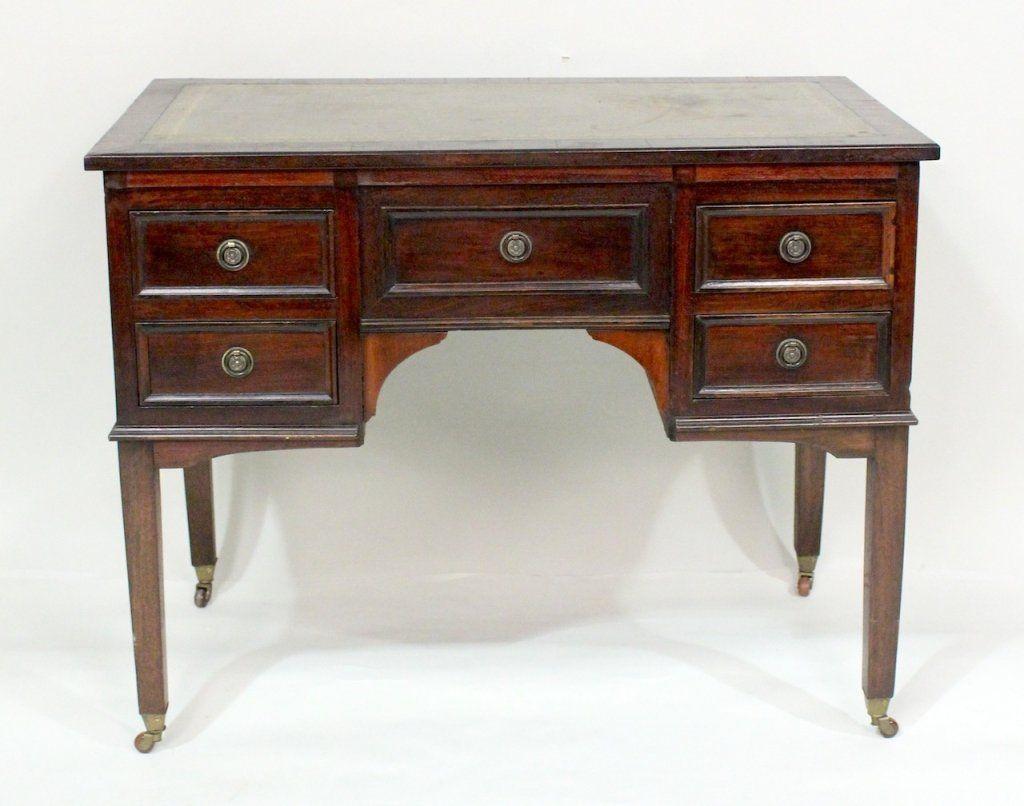19th C. Mahogany & Leather Top Desk.