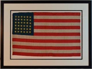"Rare 36 Star Civil War ""National Colors"" Flag"