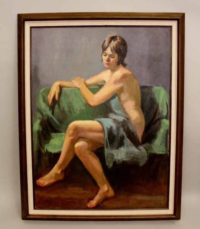 Dot Poole Oil on Canvas Female Nude