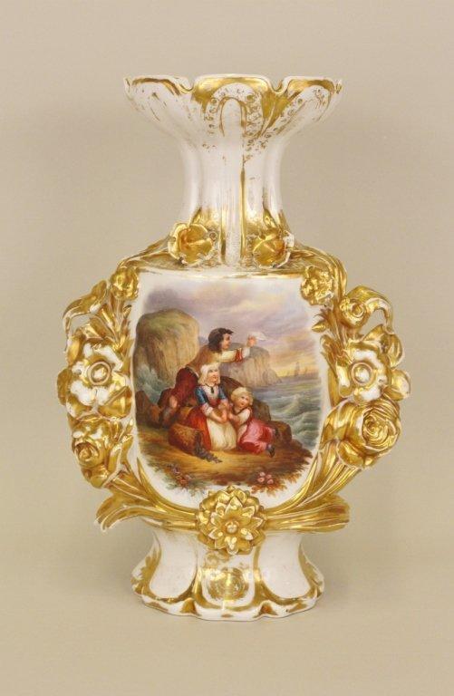 Gilt Accented Porcelain Figural Vase