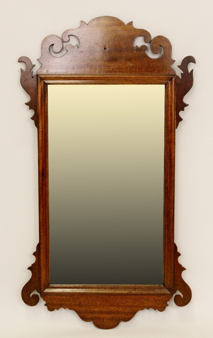 Small Chippendale-Style Walnut Framed Mirror