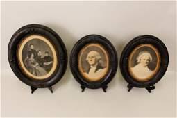 Three Lithographs-George & Martha Washington, Lincoln