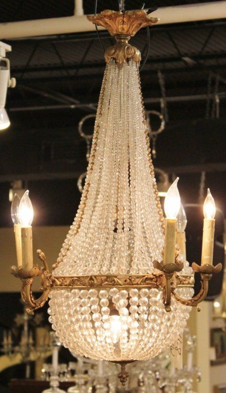 Bronze & Crystal French Basket Chandelier