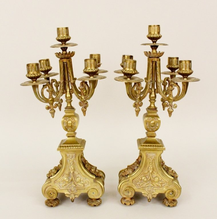 Pair of Brass Five-Light Candelabra