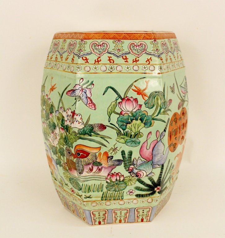 Maitland Smith Oriental Decorated Garden Seat