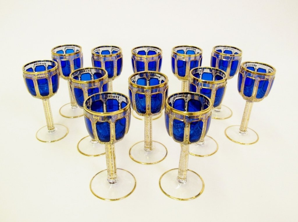 Set of 12 Moser Cobalt Wine Goblets