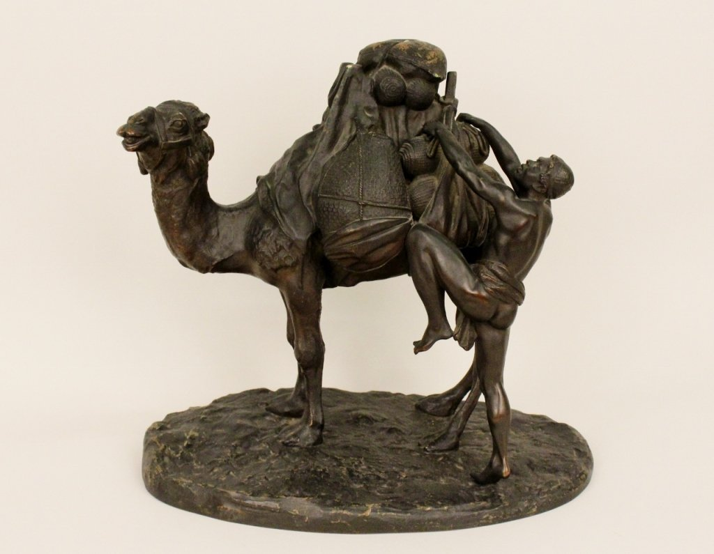 Orientalist Bronze of Figure with Camel