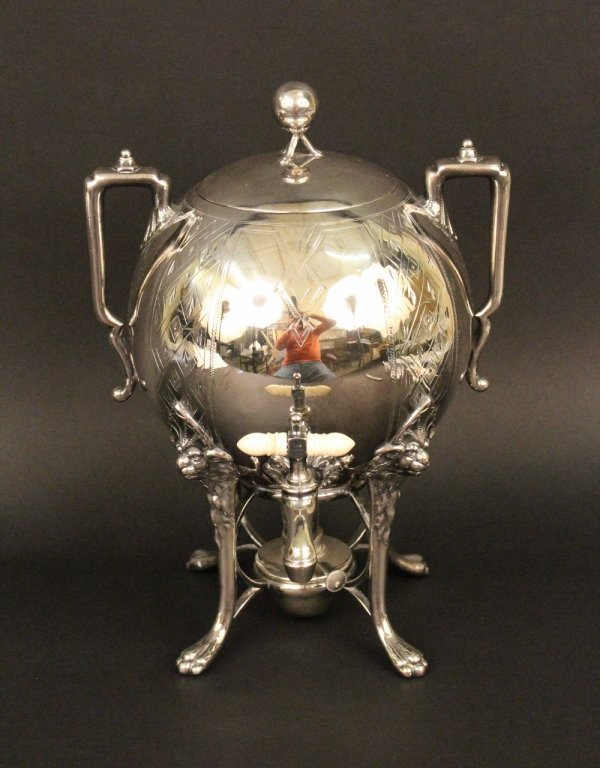Silverplated Ball Form & Handled Samovar