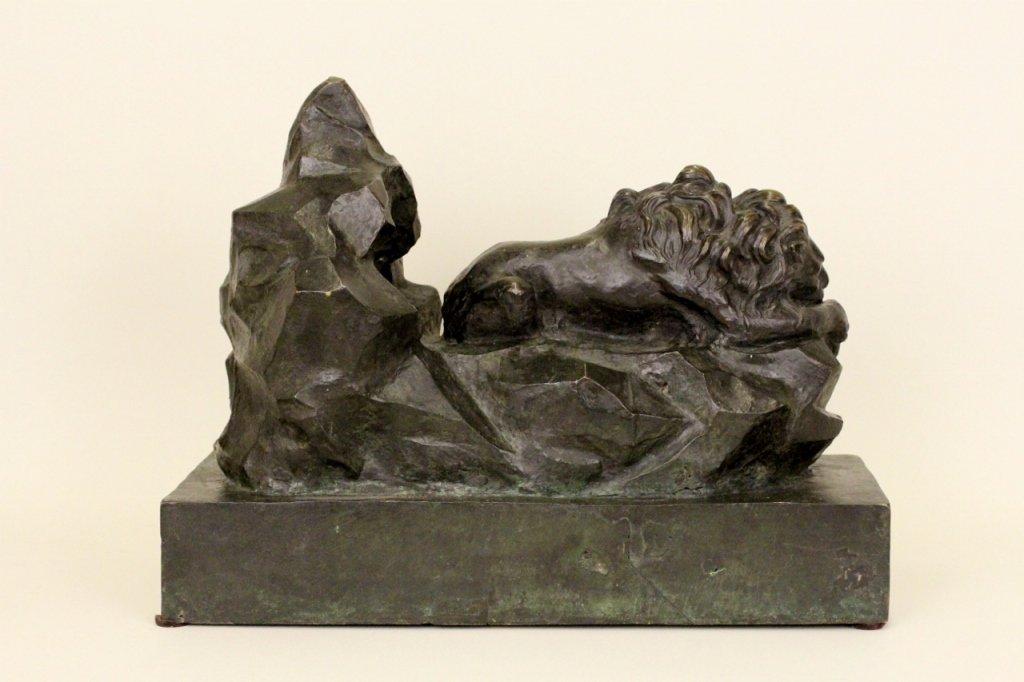 Patinated Bronze Lion Sculpture