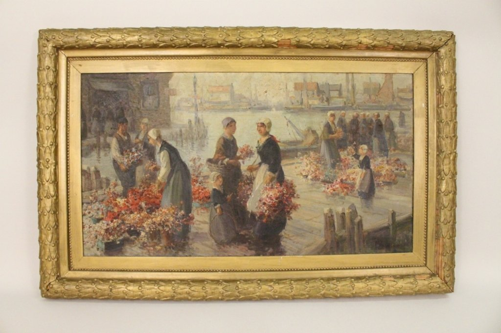 """Van Vreeland """"Flower Sellers"""" Oil Painting"""