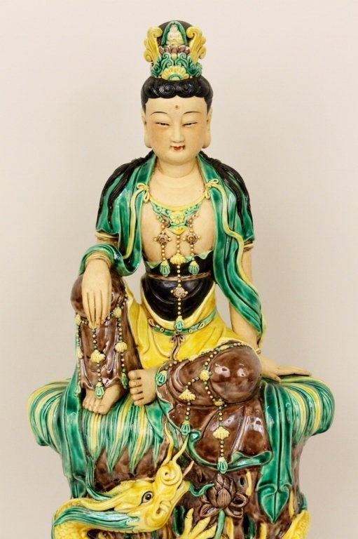 Chinese Porcelain Seated Quan Yin Figure - 3
