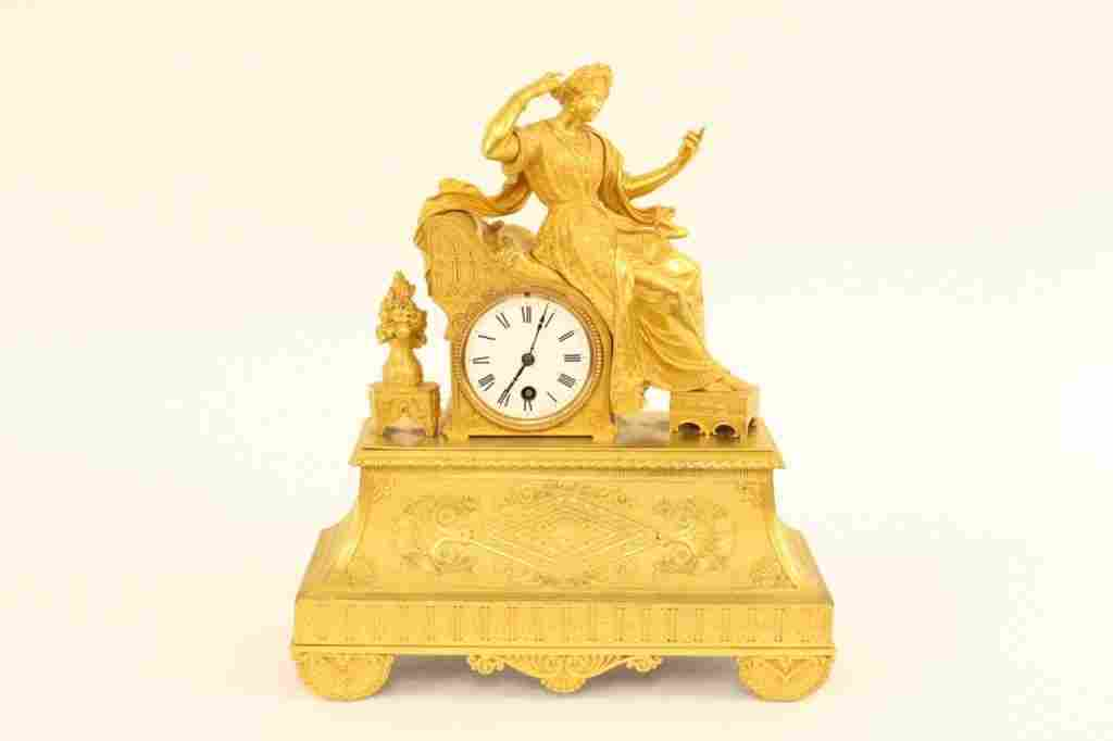 Gilt Bronze Figural Clock