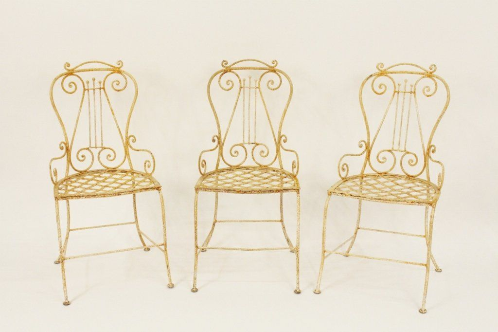 3 Wrought Iron Cream & Rust Painted Chairs