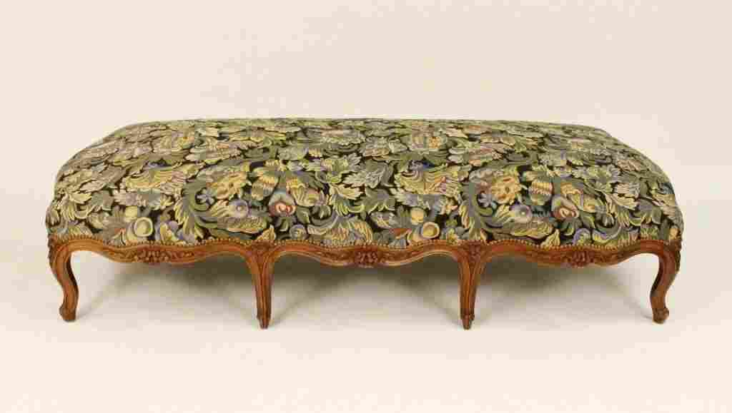 Large Walnut Framed Upholstered Ottoman