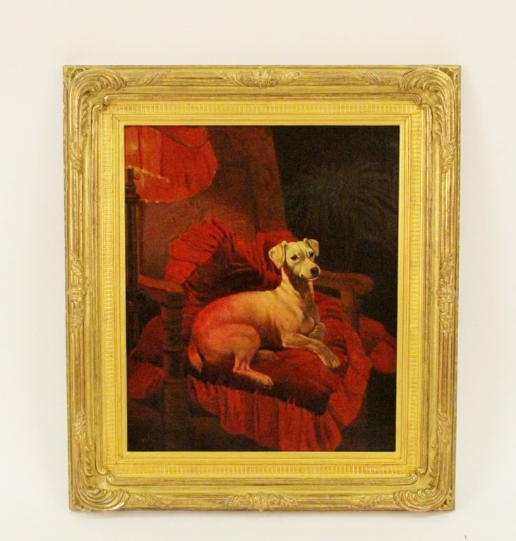 White Terrier Dog Oil on Canvas Painting