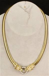18k Gold & Diamond Panther Necklace
