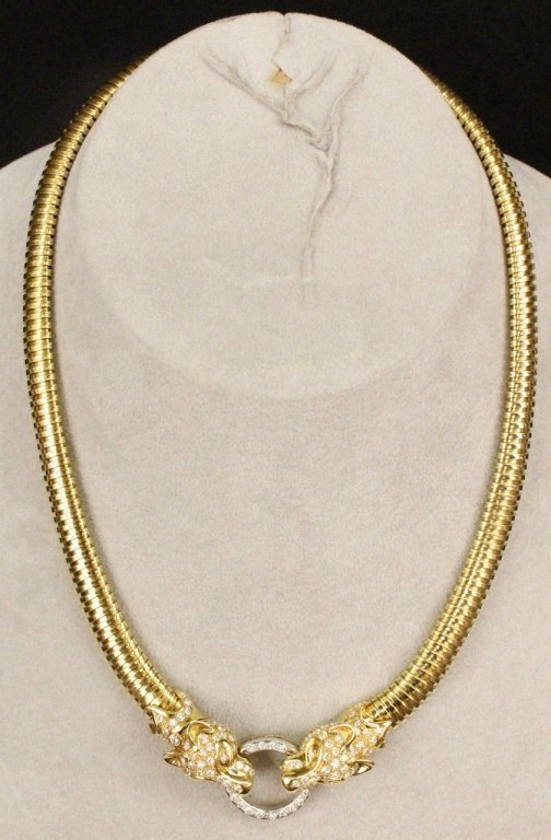 18k Gold & Diamond Panther Necklace