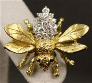 18k Gold, Diamond & Sapphire Bee Brooch