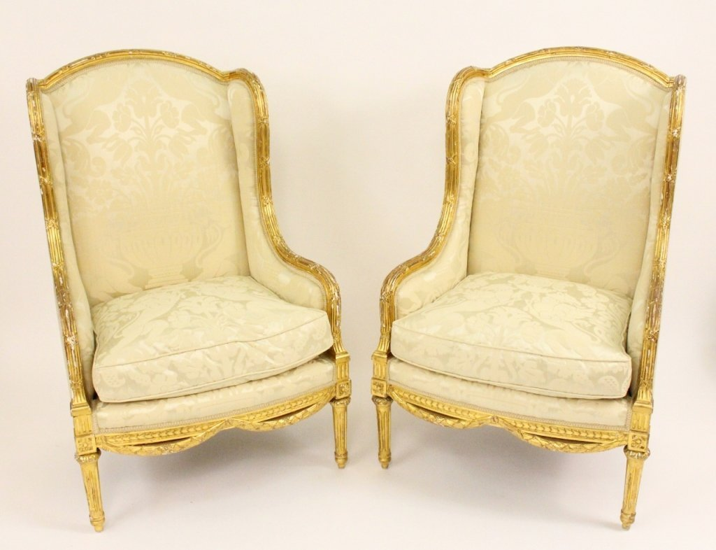 Pair of Louis XVI Style Carved Armchairs