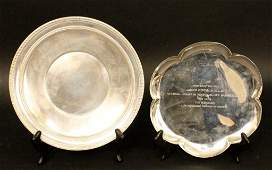Two Sterling Silver PlatesTrays