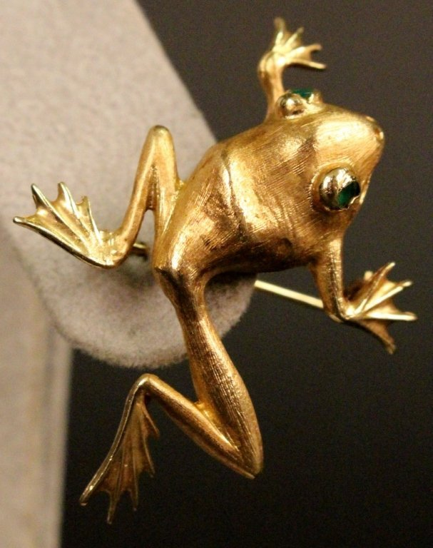 14k Gold Frog Brooch