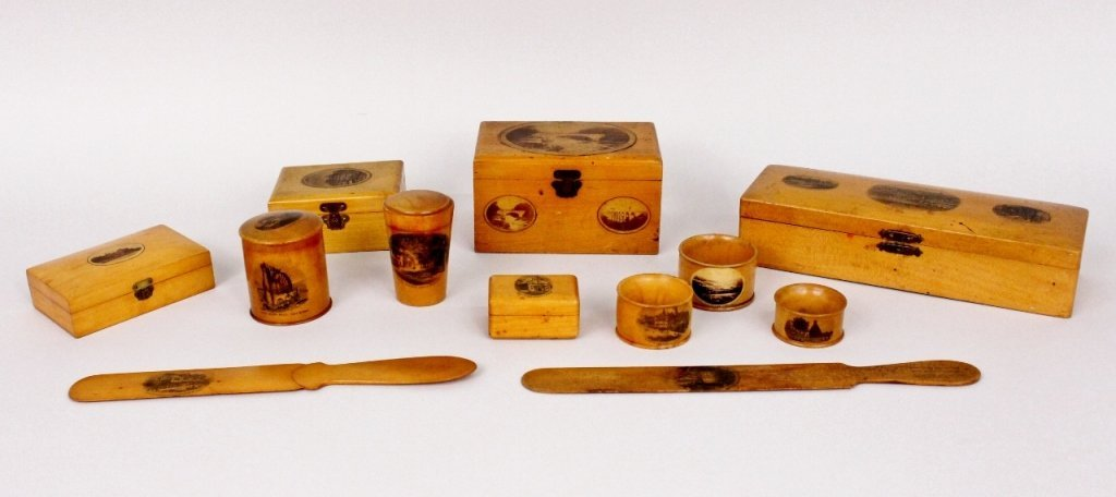 Group of 12 Mauchline Ware Wooden Items