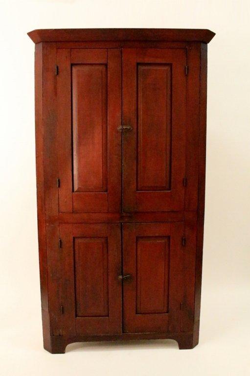 Primitive 19th C. Painted Corner Cabinet