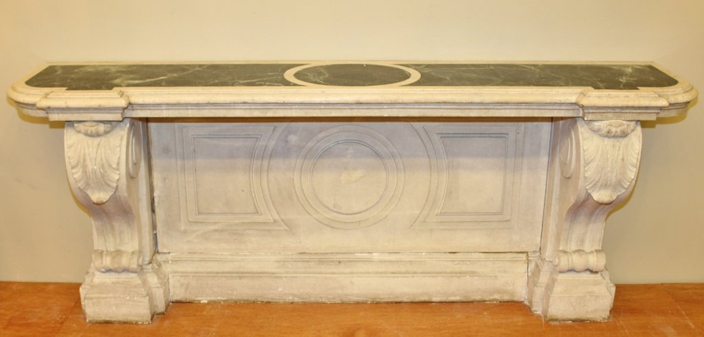 Louis XVI Carved Limestone Console Table