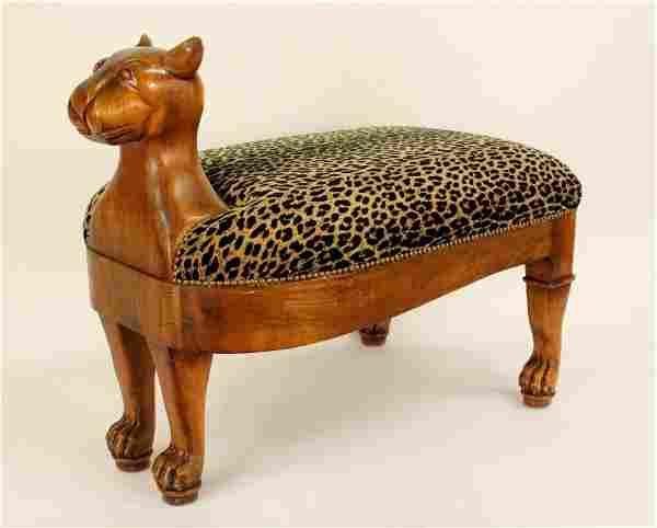 Carved Wood Framed Wild Cat Bench